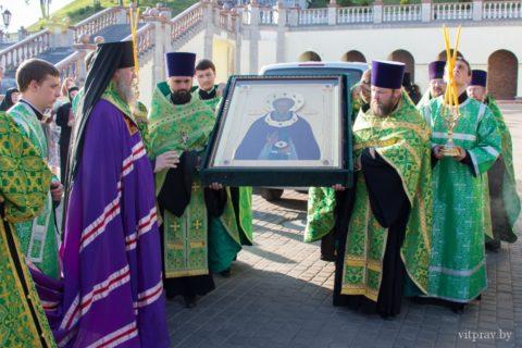 Православные христиане Витебщены встретили икону преподобного Сергия Радонежского чудотворца