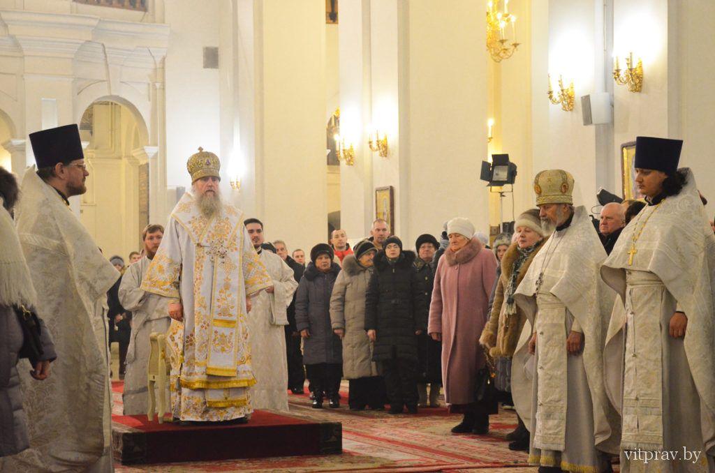 В Рождественскую ночь архиепископ Димитрий возглавил торжественную Божественную литургию в кафедральном соборе города Витебска