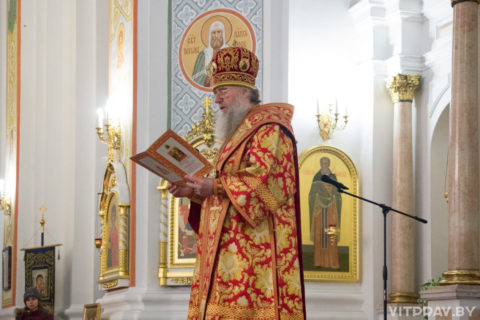 Архиепископ Димитрий возглавил торжественное Пасхальное богослужение в Свято-Успенском соборе города Витебска