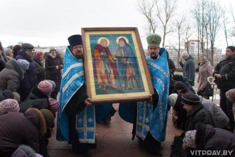 В Витебске встретили икону преподобного Серафима Саровского и преподобного Гавриила Самтаврийского