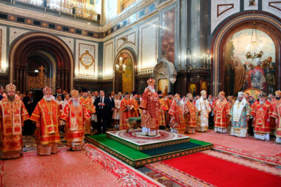 В день памяти равноапостольных Мефодия и Кирилла Патриарший Экзарх всея Беларуси сослужил Предстоятелю Русской Православной Церкви за Литургией в Храме Христа Спасителя