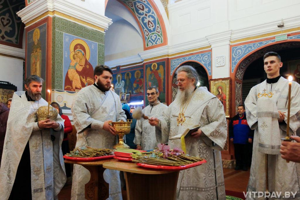 В канун праздника Сретения Господня архиепископ Димитрий совершил всенощное бдение в Свято-Покровском соборе города Витебска